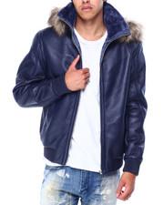 Heavy Coats - Pebble Grain PU Jacket w Faux Fur Hood-2426682