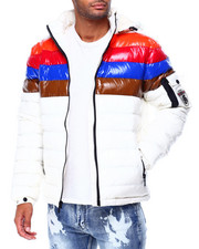 Heavy Coats - COLOR STRIPE QUILTED JACKET W TWILL PATCH-2426962