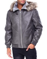 Heavy Coats - Pebble Grain PU Jacket w Faux Fur Hood-2426936