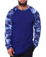 Big & Tall - Raglan Slub All Over Printed Sleeves Tee (B&T)-2426379