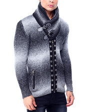 Sweatshirts & Sweaters - Striated Shawl Collar Cardigan w Grommet Placket-2427843