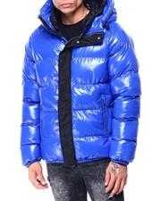 Mens-Winter - Glazed Nylon Puffer Coat w Hood-2427574