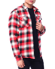 Outerwear - Plaid Fleece Lined Jacket - Red White Black-2427670