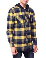 The Camper - Plaid Shirt w Fleece Hood -Gold Black-2427710