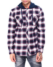 The Camper - Plaid Shirt w Fleece Hood Navy White-2427720