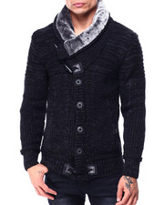 Buyers Picks - Faux Fur Shawl Collar Marble cardigan-2427990