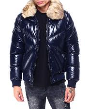 Heavy Coats - GLAZED PUFFER COAT W FUR COLLAR-2427614