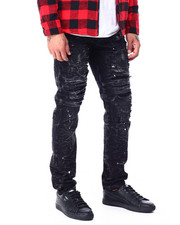 Jeans & Pants - Slim Straight Acid Wash Paint splatter Stretch Jean-2427168