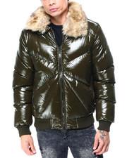 Heavy Coats - GLAZED PUFFER COAT W FUR COLLAR-2427621