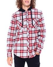 Stylist Picks - Plaid Shirt w Fleece Hood -Grey Red-2428243