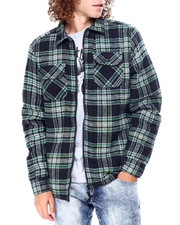 Men - Plaid Fleece Lined Jacket - Black Green Yellow-2428238