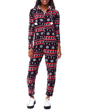 Ugly Christmas Shop - Printed Brushed L/S Hooded Jumpsuit-2425371
