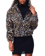 Outerwear - Sherpa Zip Hoodie Crop Jacket-2428378
