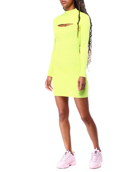 Fashion Lab - Rib Mock Nk L/S Cut Out Opn Frt Dress