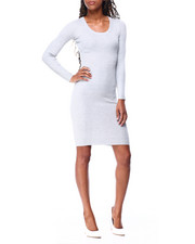 Fashion Lab - L/S Scoop Nk Snap Midi Dress-2425410