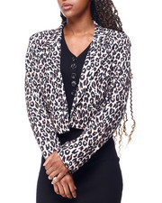 Womens-Holiday - Leopard Print Cropped Blazer-2428413