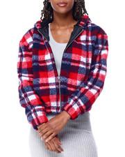 Fashion Lab - Sherpa Zip Hoodie Crop Jacket-2428373