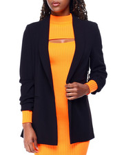 Boom Boom Jeans - Knit Crepe Solid Ruched Slv Blazer-2426332