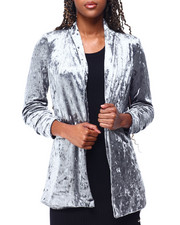 Outerwear - Crushed Velvet Ruched Slv Blazer-2426327
