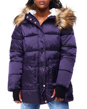 Women - JS Faux Fur Lined & Trim Hood Nylon Puffer-2423556