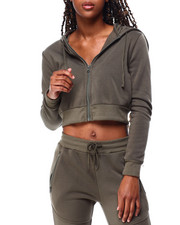 Fashion Lab - Fleece Zip Up Crop Hoodie-2426292