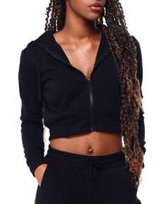 Hoodies - Fleece Zip Up Crop Hoodie-2426277