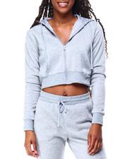 Hoodies - Fleece Zip Up Crop Hoodie-2426287