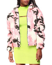 Fashion Lab - Sherpa Zip Hoodie Crop Jacket-2428368