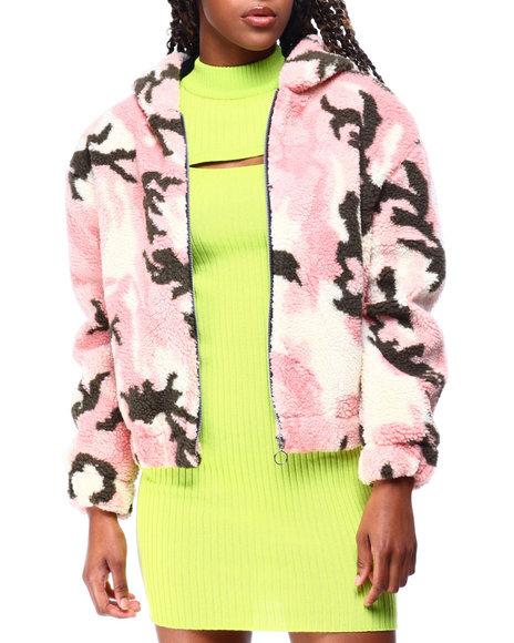 Fashion Lab - Sherpa Zip Hoodie Crop Jacket