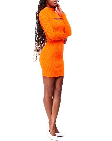 Fashion Lab - Rib Mock Nk L/S Cut Out Opn Frt Dress
