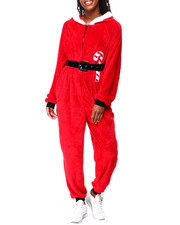 Ugly Christmas Shop - Santa L/S Hooded Jumpsuit W/Pom Pom-2425391