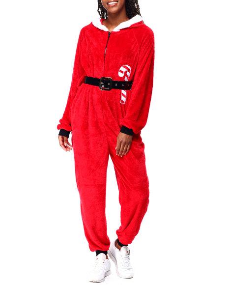 Fashion Lab - Santa L/S Hooded Jumpsuit W/Pom Pom