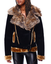 Womens-Winter - Faux Shearling Biker Jacket W/ Faux Fur Trim & Belt-2426337
