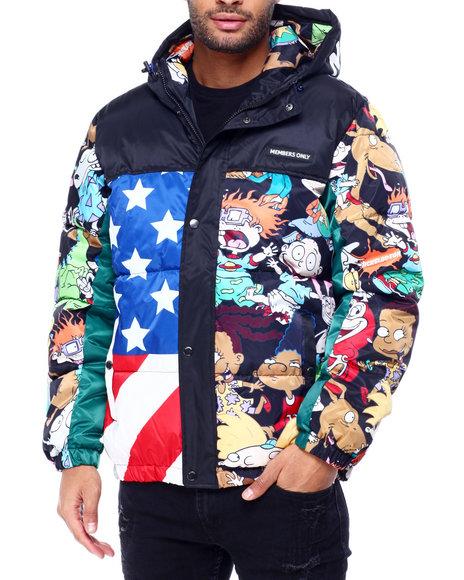 Members Only - Nickelodeon Americanan Cartoon Puffer Jacket w Hood