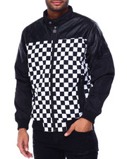 Buyers Picks - PU and Checkerboard Bomber Jacket-2429360