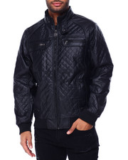 Buyers Picks - PU Diamond Quilted Bomber Jacket-2429355