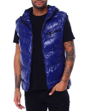 Vests - GLAZED NYLON PUFFER VEST W HOOD BY ROBERT PHILLIPE-2429387