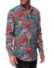 Mens-Holiday - Leopard and Floral Ls Woven Shirt-2429305
