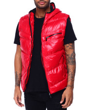 Vests - GLAZED NYLON PUFFER VEST W HOOD BY ROBERT PHILLIPE-2429371