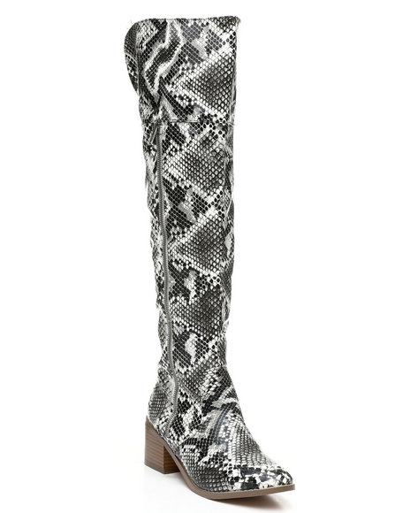 Fashion Lab - Over The Knee Zip-Up Boots