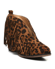 Womens-Holiday - Open Front Fringe Bootie-2429812