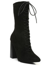 Fashion Lab - Lace-Up Mid Calf Boots W/ Wood Heel-2429851