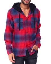Button-downs - Plaid Flannel w Hood-2425152