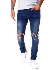 Jeans & Pants - Medium Wash Blown out Knee Stretch Skinny Jean-2430437