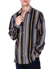 Mens-Holiday - Greek Key Stripe LS Woven Shirt-2430181