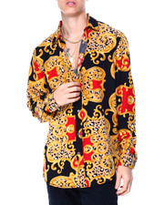 Mens-Holiday - Animal Print Filigree LS Woven Shirt-2430084
