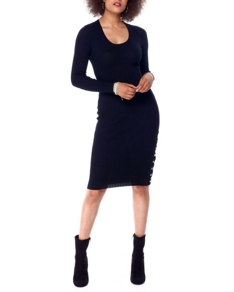 Fashion Lab - L/S Scoop Nk Snap Midi Dress