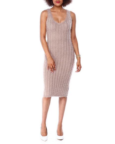 Almost Famous - S/L Eyelash Rib Midi Dress