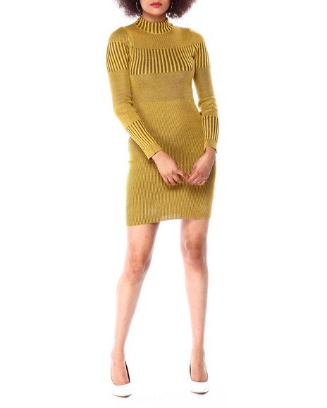 Almost Famous - L/S Mock Neck Transfer Plaited Rib Mini Dress
