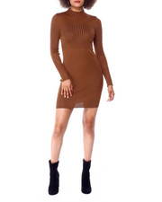 Almost Famous - L/S Mock Neck Transfer Plaited Rib Mini Dress-2430900